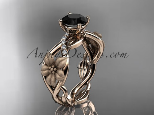 Unique 14kt rose gold diamond floral leaf and vine wedding ring, engagement ring with a Black Diamond center stone ADLR270