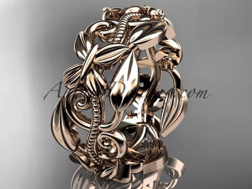 14kt rose gold leaf and vine, butterfly wedding ring,wedding band ADLR346G