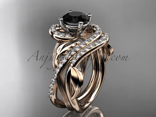 Unique 14kt rose gold diamond leaf and vine wedding set, engagement set with a Black Diamond center stone ADLR222S