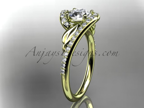 "14k yellow gold diamond leaf and vine wedding ring, engagement ring with a ""Forever One"" Moissanite center stone ADLR317"