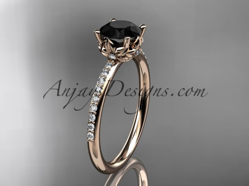 14kt rose gold diamond floral wedding ring, engagement ring with a Black Diamond center stone ADLR92