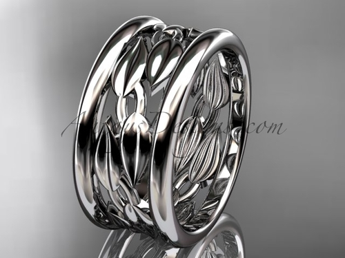 Platinum  leaf and vine wedding ring, engagement ring, wedding band ADLR293G