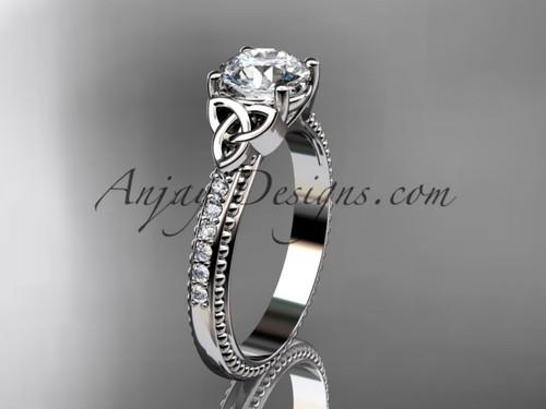 platinum diamond celtic trinity knot wedding ring, engagement ring CT7391