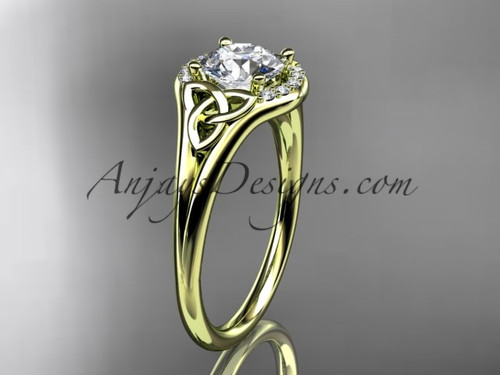 14kt yellow gold celtic trinity knot engagement ring, wedding ring CT791