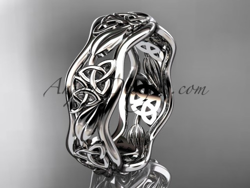 14kt white gold celtic trinity knot wedding band, engagement  ring CT7506G