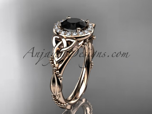 14kt rose gold diamond celtic trinity knot wedding ring, engagement ring with a Black Diamond center stoneCT7328