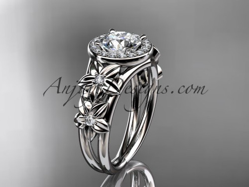 """Platinum diamond floral wedding ring, engagement ring with a """"Forever One"""" Moissanite center stone ADLR131"""