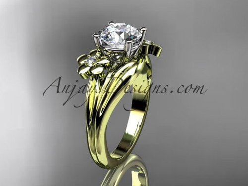 14kt yellow gold diamond leaf and vine wedding ring, engagement ring ADLR159