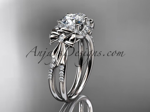 14kt white gold diamond unique engagement ring, wedding ring, bow ring ADER155