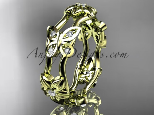 14kt yellow gold diamond floral butterfly wedding band, engagement ring, wedding band ADLR153B