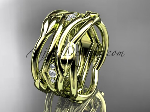 Beautiful Yellow Gold Diamond Leaf Wedding Band ADLR351B