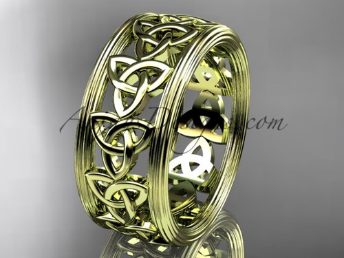 14kt yellow gold celtic trinity knot wedding band, engagement  ring CT7513G