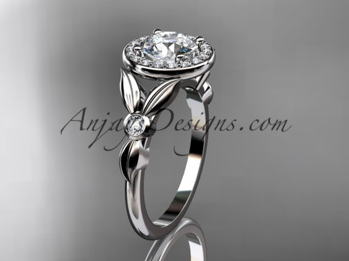 """14kt white gold diamond floral wedding ring, engagement ring with a """"Forever One"""" Moissanite center stone ADLR129"""