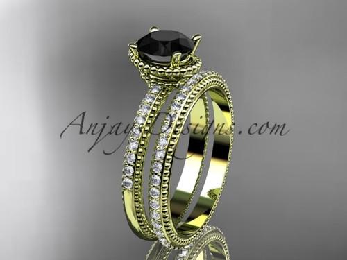 14kt yellow gold diamond unique engagement set, wedding ring with  Black Diamond center stone  ADER86S