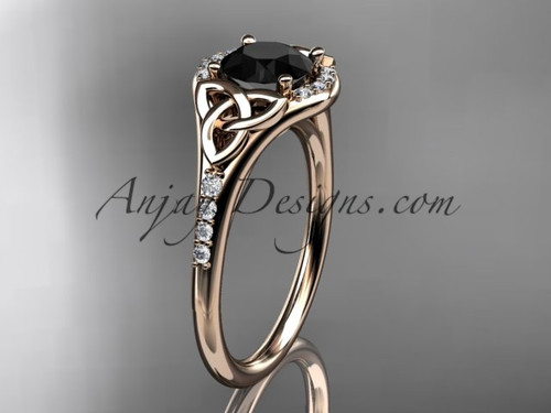 14kt rose gold diamond celtic trinity knot wedding ring, engagement ring with a Black Diamond center stone CT7126