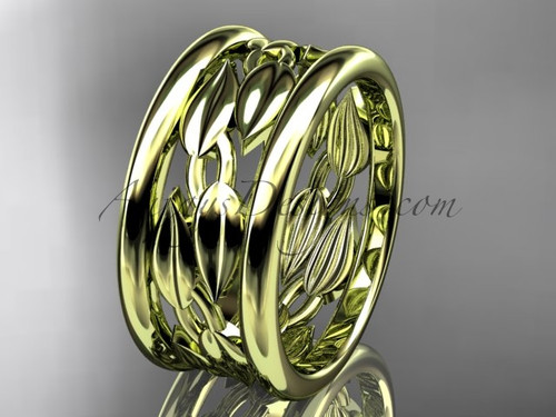 14kt yellow gold leaf and vine wedding ring, engagement ring, wedding band ADLR293G