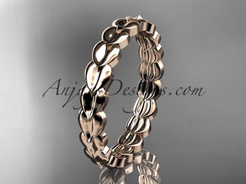 14kt rose gold  leaf wedding ring, engagement ring, wedding band ADLR35B