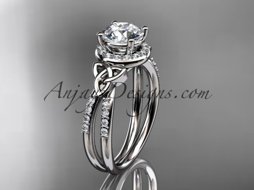 14kt white gold diamond celtic trinity knot wedding ring, engagement ring CT7373