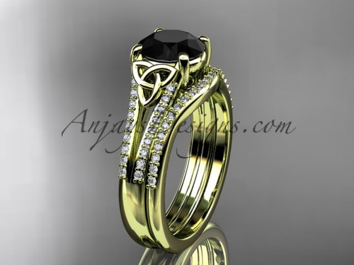 14kt yellow gold celtic trinity knot engagement ring ,diamond wedding ring, engagement set with a Black Diamond center stone CT7108S