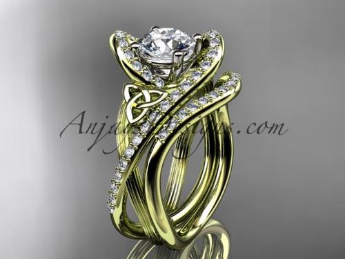 14kt yellow gold diamond celtic trinity knot wedding ring, engagement set CT7369S