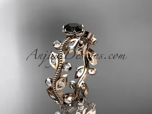 14k rose gold diamond floral leaf and vine wedding ring, engagement ring with a Black Diamond center stone ADLR1