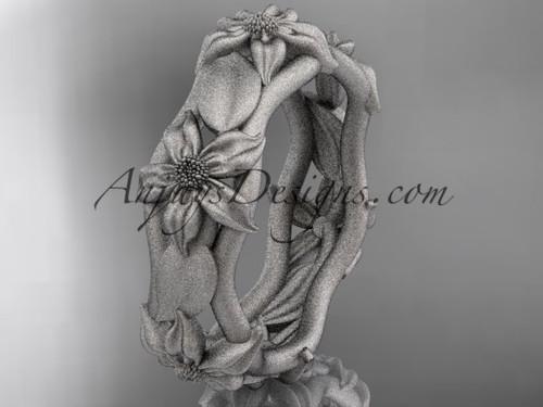 14kt white gold leaf and vine, floral wedding band ADLR105B