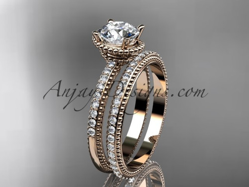 """14kt rose gold diamond unique engagement set, wedding ring with  """"Forever One"""" Moissanite  center stone  ADER86S"""