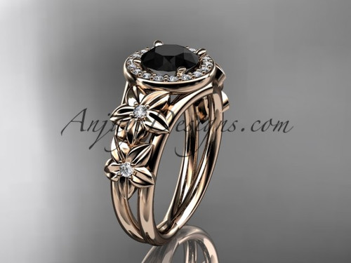 14kt rose gold diamond floral wedding ring, engagement ring with a Black Diamond center stone ADLR131