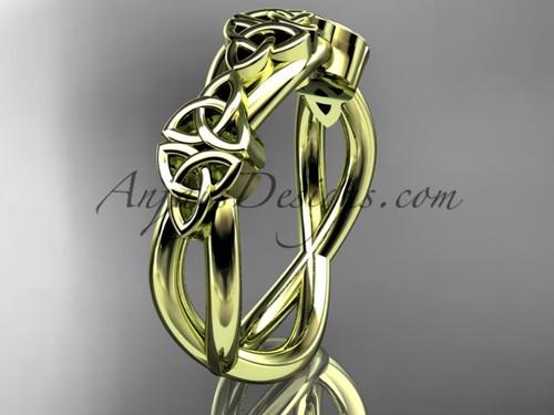 Irish Wedding Band, Yellow Gold Celtic Bridal Ring CT7505G