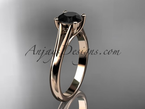 14kt rose gold unique engagement ring, wedding ring, solitaire ring with a Black Diamond center stone ADER109