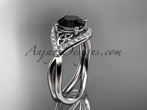 platinum diamond celtic trinity knot wedding ring, engagement ring with a Black Diamond center stone CT7390
