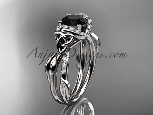 White Gold Black Diamond Irish Celtic Engagement Ring CT7274
