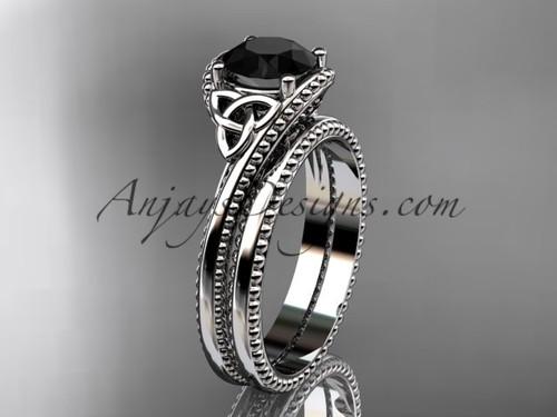 platinum celtic trinity knot wedding ring, engagement set with a Black Diamond center stone CT7322S