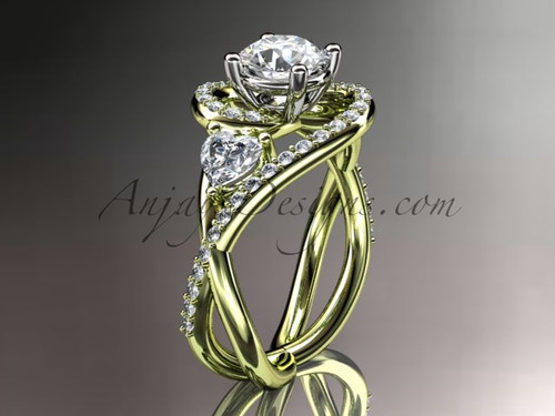 Unique Bridal Ring, Yellow Gold Ring with Moissanite ADLR320