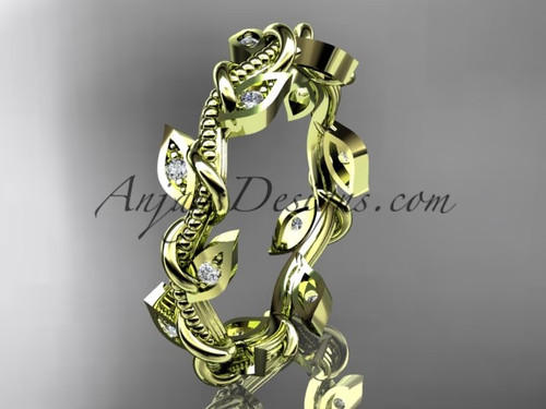 14kt yellow gold diamond leaf and vine wedding ring, engagement ring, wedding band ADLR79