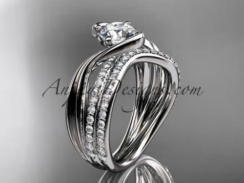 """14kt white gold diamond leaf and vine wedding ring, engagement set with a """"Forever One"""" Moissanite center stone ADLR78S"""