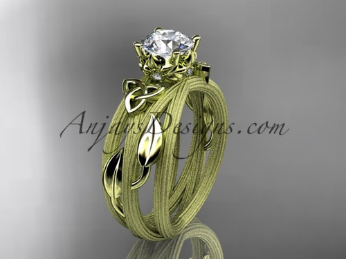 """14kt yellow gold diamond celtic trinity knot wedding ring, engagement ring with a """"Forever One"""" Moissanite center stone CT7253"""