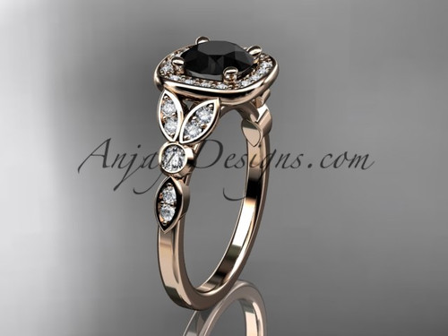 14kt rose gold diamond leaf and vine wedding ring, engagement ring with a Black Diamond center stone ADLR179