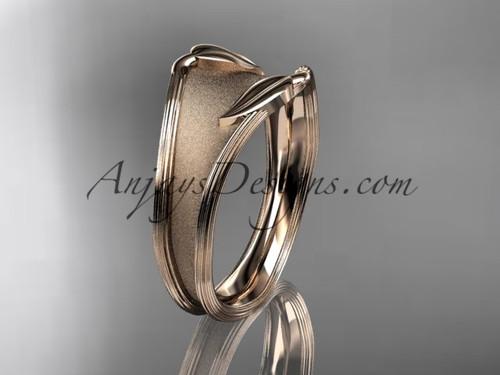 Unusual Wedding Band Rose Gold Leaf Bridal Ring ADLR60B