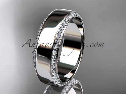 platinum classic wedding band, diamond engagement ring ADLR380B