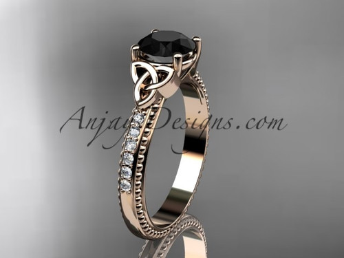14kt rose gold diamond celtic trinity knot wedding ring, engagement ring with a Black Diamond center stone CT7391
