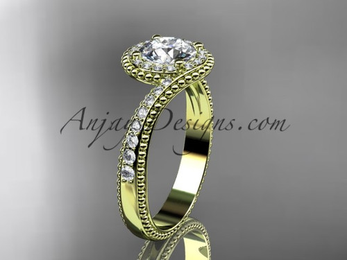 """14kt yellow gold halo diamond engagement ring with a """"Forever One"""" Moissanite center stone ADLR379"""
