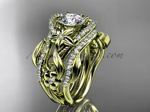 14kt yellow gold diamond leaf and vine engagement ring with double matching band ADLR211S