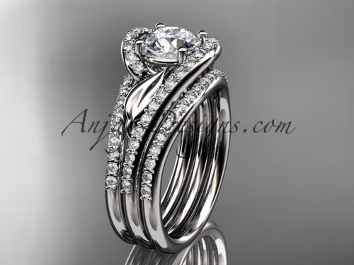 "14k white gold diamond leaf  wedding ring with a ""Forever One"" Moissanite center stone and double matching band ADLR317S"