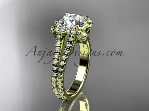 """14kt yellow gold diamond unique engagement ring, wedding ring with a """"Forever One"""" Moissanite center stone ADER107"""