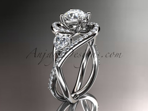 Unique Wedding Ring, White Gold Ring with Moissanite ADLR320