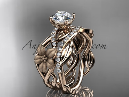 Nature Inspired Engagement Rings Rose Gold Set ADLR270S