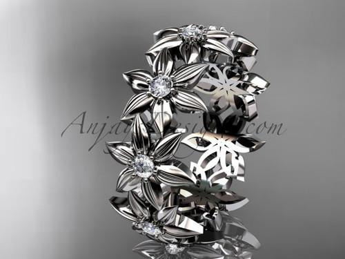 Diamond Wedding Band, 14K White Gold Ring for Women ADLR339B
