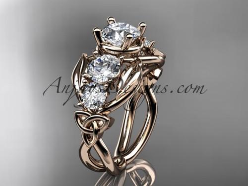 14kt Rose Gold Moissanite Welsh Engagement Ring CT769