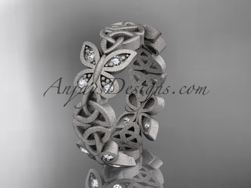 14kt white gold diamond celtic trinity knot  matte finish  wedding band, engagement ring CT7420B